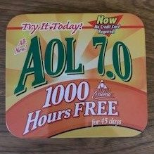 AOL mailer tin from 1990s advertising FREE 700 hours for 45 days