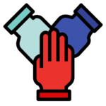 Graphic of hands from Flaticon